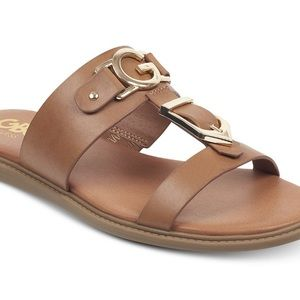 G By Guess Brown Sandals with Gold Tone Logo